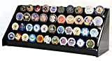 4 Rows 40 Challenge Coin / Casino Chip Display Case Rack Holder Stand Solid Wood -Black