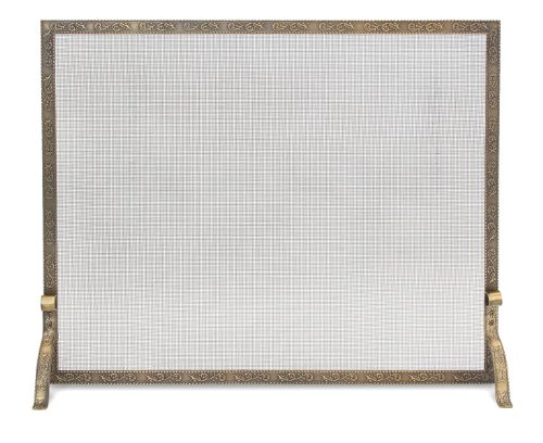 Pilgrim Home and Hearth 18254 Bay Branch Embossed Single Fireplace Panel Screen, Antique Brass (Antique Fireplace Screen compare prices)