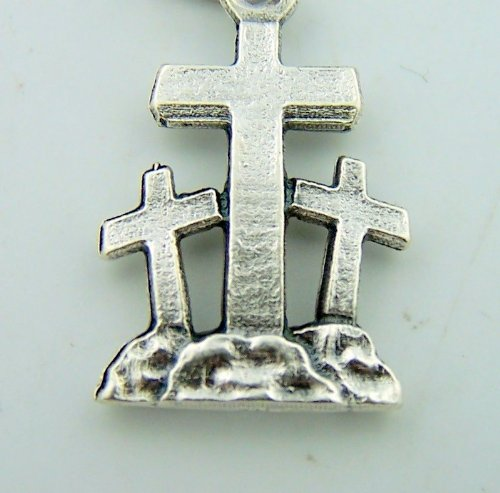 Mini Charm Bracelet Catholic Medal Silver Crucifixion Three Cross Ressurection