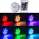 colorfulpearl 4PCS/lot RGB 10 Led Submersible Light Battery Operated IP68 Waterproof Underwater Swimming Pool Wedding Party Piscina Pond,No Batteries included
