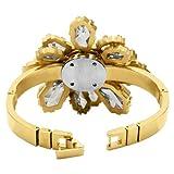 Badgley Mischka Women's BA1036CHGB Gold-Tone and Glass Petal Shaped Bangle Watch