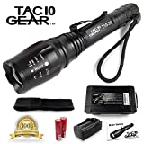 TAC10 GEAR Super Bright LED Tactical Flashlight CREE XML-T6 Includes Rechargeable Lithium Ion Batteries and Charger Plus Free Holster Adjustable Zoom Focus 5 User Modes 1200 Lumens Water Resistant