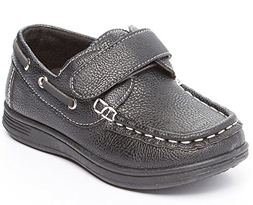 CoXist Boys Slip On Velcro Strap Deck Boat Shoe (Toddler/Little Kid/Big Kid) black 6