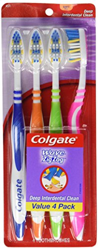 Colgate Wave ZigZag Soft Full Toothbrushes – 4 Pack