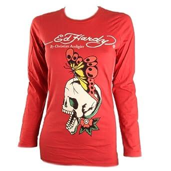 Ed Hardy Womens Butterfly Skull Long Sleeve Tee Shirt-Red