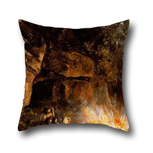 Oil Painting José María Velasco - Scene From The Quaternary Upper Paleolithic Period Throw Pillow Case ,best For Girls,husband,her,living Room,dance Room,chair 18 X 18 Inch / 45 By 45 Cm(each Side)