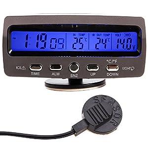 WINGONEER® LCD Auto Digital Innen Außen Thermometer Spannungstester Voltmeter Spannungsmesser KFZ PKW Datum Uhr Alarm