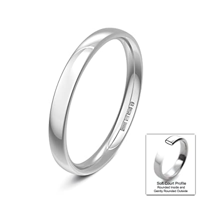 Xzara Jewellery - 18FCTM White 5mm Medium Soft Top (Comfort Ring) Ladies/Gents Wedding Ring Band5.9 Grams Wedding Ring Band