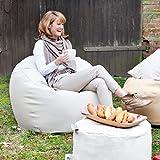 Der runde Outdoor-Sitzsack in Leder Optik: Donut Deluxe von Outbag! Ideal im Strand oder am Garten: Salz- und Chlorwasser resistent. Farbe Skin Kiesel/ Creme