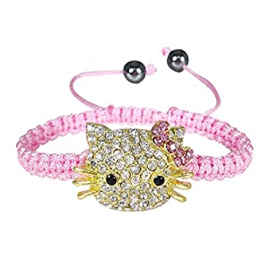 Wrapables Children's Shamballa Inspired Kitty Cord Bracelet - Pink
