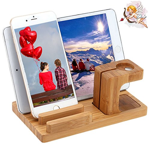 Apple Watch Stand Bamboo Wood New Edition Charge Dock Holder Organizer By Tophot for Iwatch Both 38mm and 42mm & Iphone Other Phones Tablets 3 in 1