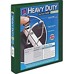 Avery-Dennison 79172 Heavy-Duty View Binder with Locking 1-Touch EZD Rings, Green - 1 in.