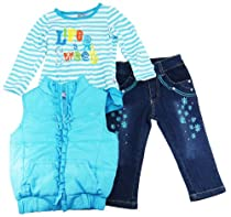 Sweet & Soft Toddler Girls Vest Cozy Long Sleeve Tee and Pants Set 3T Blue