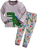 [Vaenait Baby]キッズ子供ベビー服綿100%ルームウェア長袖パジャマ寝間着上下セット Dino King-Grey XS