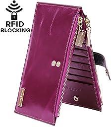Borgasets RFID Blocking Women\'s Genuine Leather Zipper Wallet Card Case Purse Purple