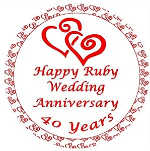Ruby Wedding Anniversary Cake Topper Edible Sugar Icing 7