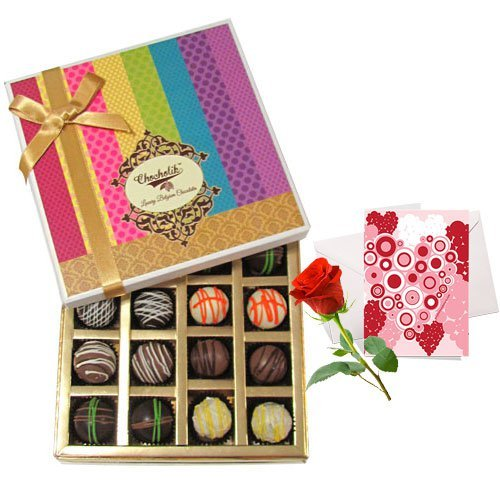 Valentine Chocholik's Belgium Chocolates - Moment Of Surprise Truffles Collection With Love Card And Rose