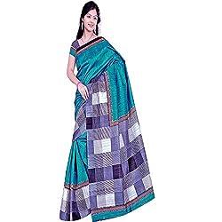 Pawan Tex Synthetic Bhagalpuri Saree (saree95_Green White)