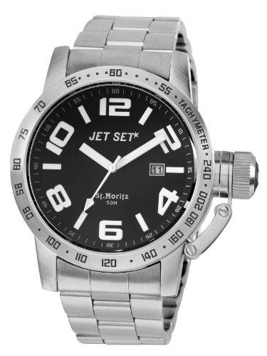 Jet Set J27573-212 - Reloj analógico de cuarzo para hombre, correa de acero inoxidable color plateado