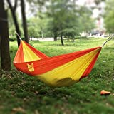 Lightweight Portable Two Person Double Parachute Nylon Fabric Hammock Hanging Bed For Summer Travel Outdoor Camping Backpacking(Orange / Yellow)