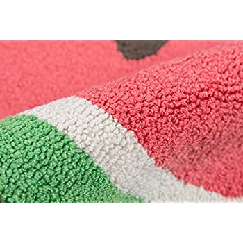 "Novogratz by Momeni CUCINCNA-3RED1630 Cucina Watermelon Kitchen Mat, 16"" x 3 Half Moon, Red"