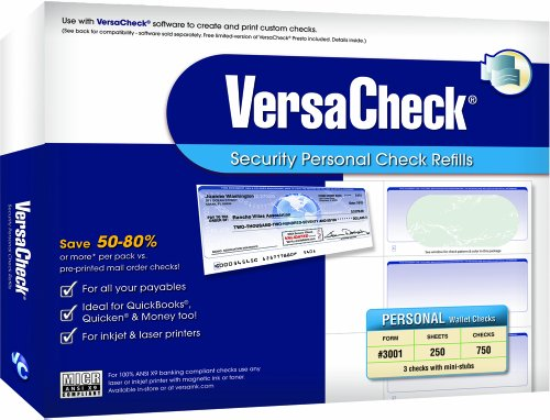 VersaCheck Security Personal Check Refills: Form #3001 Personal Wallet - Green - Prestige - 250 Sheets