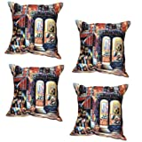 MeSleep Digital Print Gallery Of America 4 Piece Cushion Cover Set - Multicolor