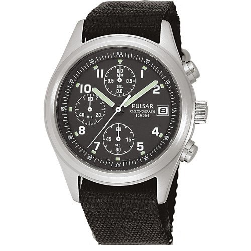 Pulsar by Seiko Gents Chronograph Dial Black 100m Water Resistant Fabric Strap PJN305X12
