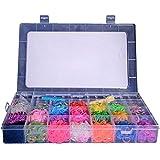Coffret Kit de Luxe -Métier à Tisser + 5300 Elastiques + 1 Gros Crochet + Clips S + Pendentifs - 100% compatible Rainbow Loom, Cra-Z-Loom et autres kits loom.