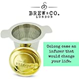 Limited Edition Luxury Loose Tea Infuser & Steeper - Genuine 22c Gold Coated Lid - Extra Fine Mesh Stainless Steel Tea Filter - Double Handled Strainer - Perfect Gift for Tea Lovers