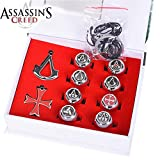 10 pcs/set 3 Colors Assassins Creed Necklace Pendants Rings Gift Boxed Action Metal Figures Model Toys (Silver) (Color: Silver)