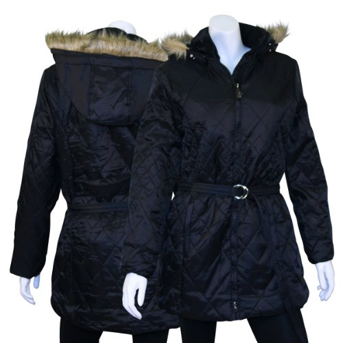 Women's Diamond Quilt Parka With Fur Trim - Black - Medium