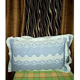 Amita's Home Furnishing Blue Color Cotton Designer Pillow Cover