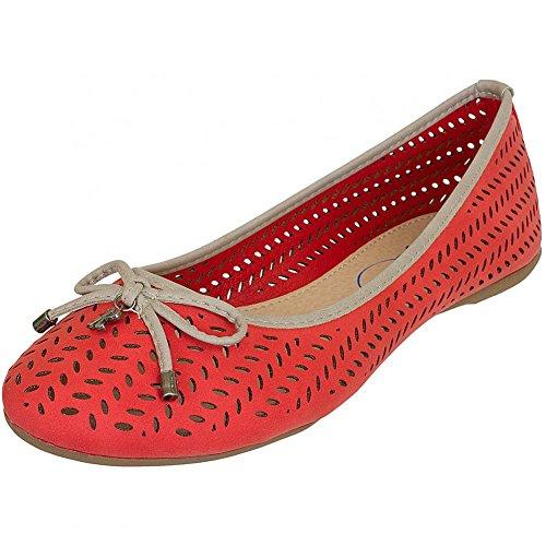Refresh Shoes, Ballerine donna Nero nero, Nero (Rosso), 38