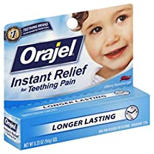 Orajel Oral Pain Reliever, for Teething, Gel, Cherry Flavored, 0.33 oz (9.4 g)
