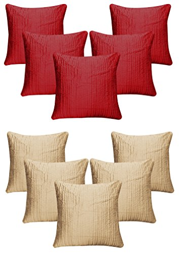 "Royalina Red And Beige Quilting Dupioni Cushion Covers-Buy 5 Get 5 Free-16""X16"""
