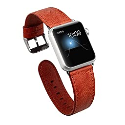 Apple Watch Band,Jisoncase Genuine Leather Strap Wristband With Free Adapters for Apple Watch/ Sport/ Edition 38mm- iWatch Replacement Band with Metal Clasp in Red, JS-AW3-05A30