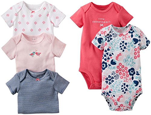 Carter'S Baby Girls' 5 Pack Bodysuits (Baby) - Assorted Solids - Pink - 12 Months front-162902