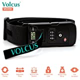 """Volcus® VC310 3-in-1 Smart Suitcase Luggage Travel Belt Strap w/ TSA Approved Combination Lock + 77 lb Capacity Digital Scale + Adjustable Strap Up To 78"""", & Concise Design for Safety Protection (BLK)"""
