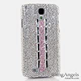 BlingAngels® Luxury Swarovski Crystal Diamond Bling AB White Crystals with Pink Strip Design Case Cover for Samsung Galaxy S4 S IV i9500 fits Verizon, AT&T, T-mobile, Sprint and other Carriers (100% Handcrafted by BlingAngels with Pink Carrying Pouch)