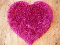Bright Pink Fuschia Faux Fur Sheepskin Style Rug by Rugs Supermarket