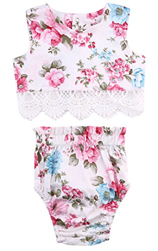 Princess Baby Girl Lace Flower Tops+Bottoms Briefs PP Pants Outfits Set Sunsuit (6-12 Months, Color 1)