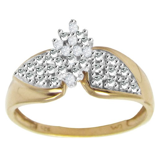 Natural Diamond Cluster Yellow Gold Plated Sterling Silver Ring