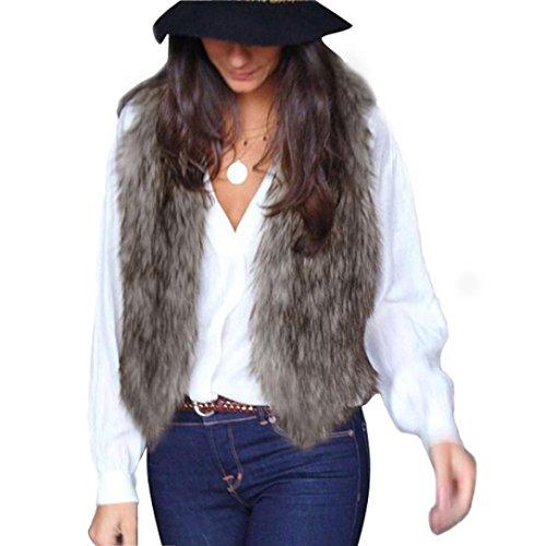 Fortan Le donne della maglia senza maniche tuta sportiva del cappotto Capelli lunghi Gilet Giacca (medium, Grigio)