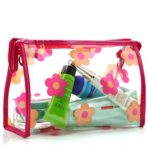 DAYAN Cosmetic Bag Sacchetto cosmetico donne portatili piccoli fiori trasparente Colore Rose & Beige