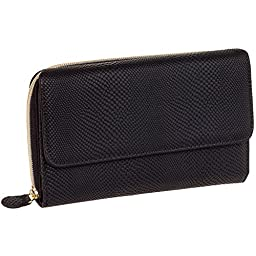 Mundi Womens My Big Fat Clutch Wallet w/ Calculator & Gold Hardware (Black Snake)