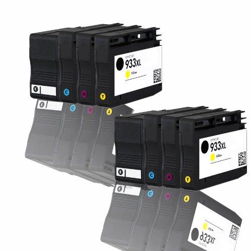 Premium 8er Pack Tintenpatronen für HP 932XL 933XL CN053AE , CN054AE , CN055AE , CN056AE HP Hewlett Packard Officejet 6100 6600 6700 kompatibel (BK,C,Y,M)