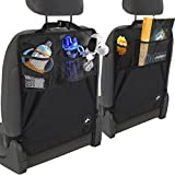 """OxGord® Kick Mats Back Seat Protector w/Storage Organizer Pocket- 2 Pack """" 2016 Model Newly Designed"""" - Universal Fit for Car, Truck, SUV, or Van - Rear Auto Bucket Seat Upholstery Protective Cover"""
