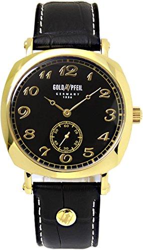 [ゴールドファイル]GOLD PFEIL 腕時計 革ベルト スモールセコンド メンズ G41002GB ゴールド ブラック [並行輸入品]
