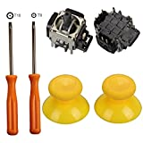 Timorn Replacement Parts 2 x 3D Thumbsticks Grips + 2 x Analog Joysticks Rocker + T8 / T10 Torx Screwdriver Tool for Xbox One Wireless Controller (Yellow)